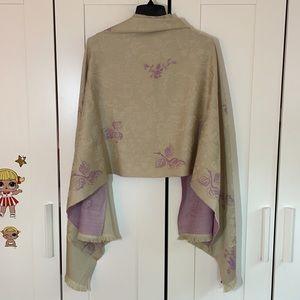KENZO Wool Silk Blend Shawl Scarf Wrap